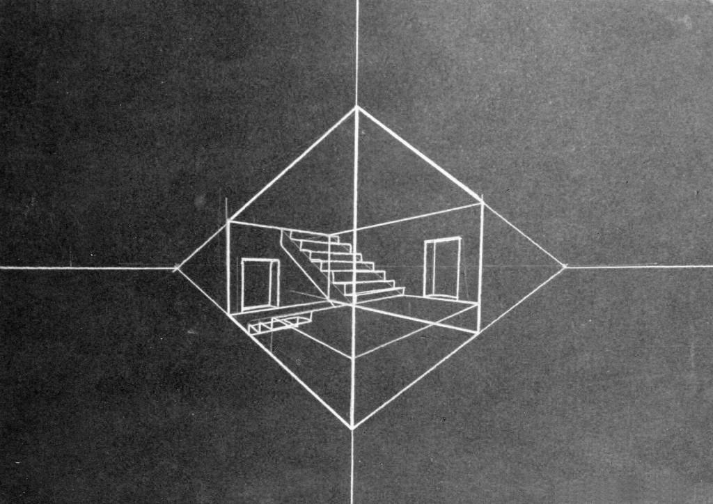 1992 Treppenhausstück DIN A6 (white crayon on black cardboard)