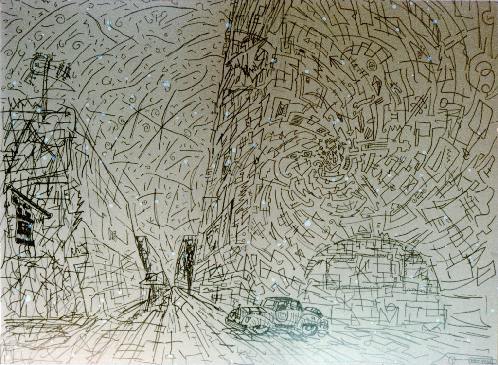1986 Shitty Weather (pen on wood) aprox. 80 x 60 cm
