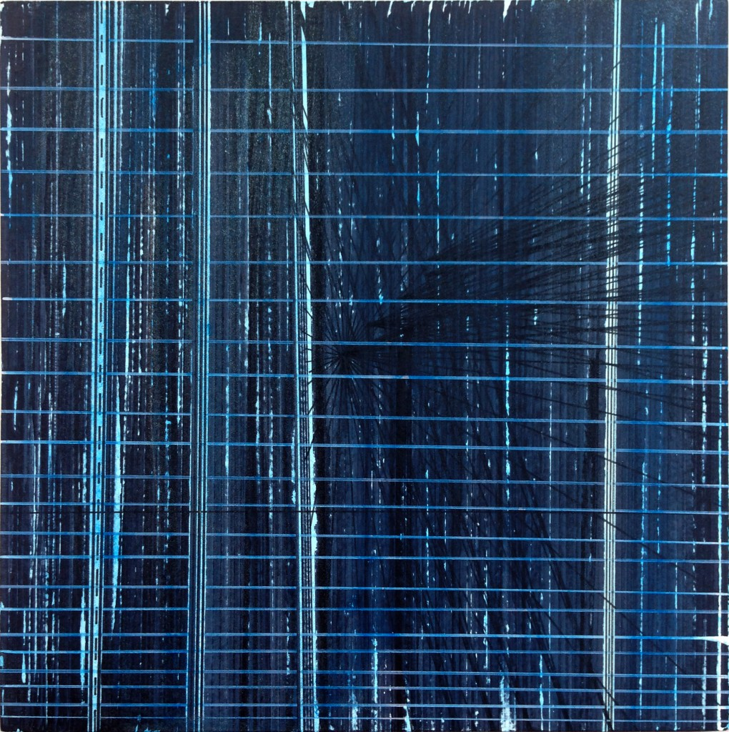 2016 Darkblue Nr 1, 35 x 35 cm, marker and acrylics on wood