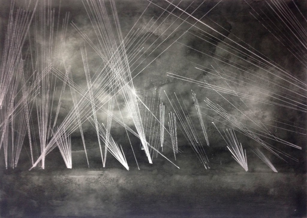 Tracer fire from British warships fending off a Luftwaffe bombing raid. Sword Beach Area, Normandy, 10th June 1944. 70 x 50 cm