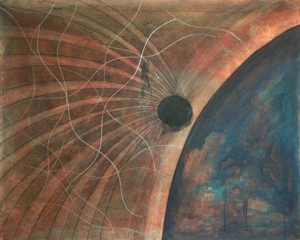 Saumässig blöder Kackmeteor schlägt in einem String-Quantenfeld auf hilflos peinlichen Schrottplaneten ein, 100 x 80 cm